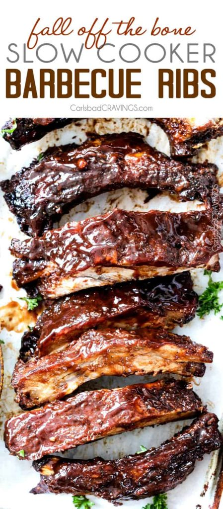 15 minute prep Fall-Off-the-Bone Slow Cooker Barbecue Ribs that everyone goes crazy for! They are slathered in the most incredible rub and barbecue sauce for amazing restaurant flavor. My husband says they are better and more tender than any restaurant!
