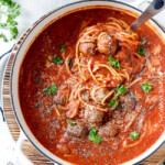 Easy One Pot Spaghetti and Meatball Soup tastes like your favorite spaghetti but is even more slurp-worthy crazy delicious! Use store bought meatballs or these incredibly moist Parmesan meatballs for a one pot meal the whole family will go crazy for!