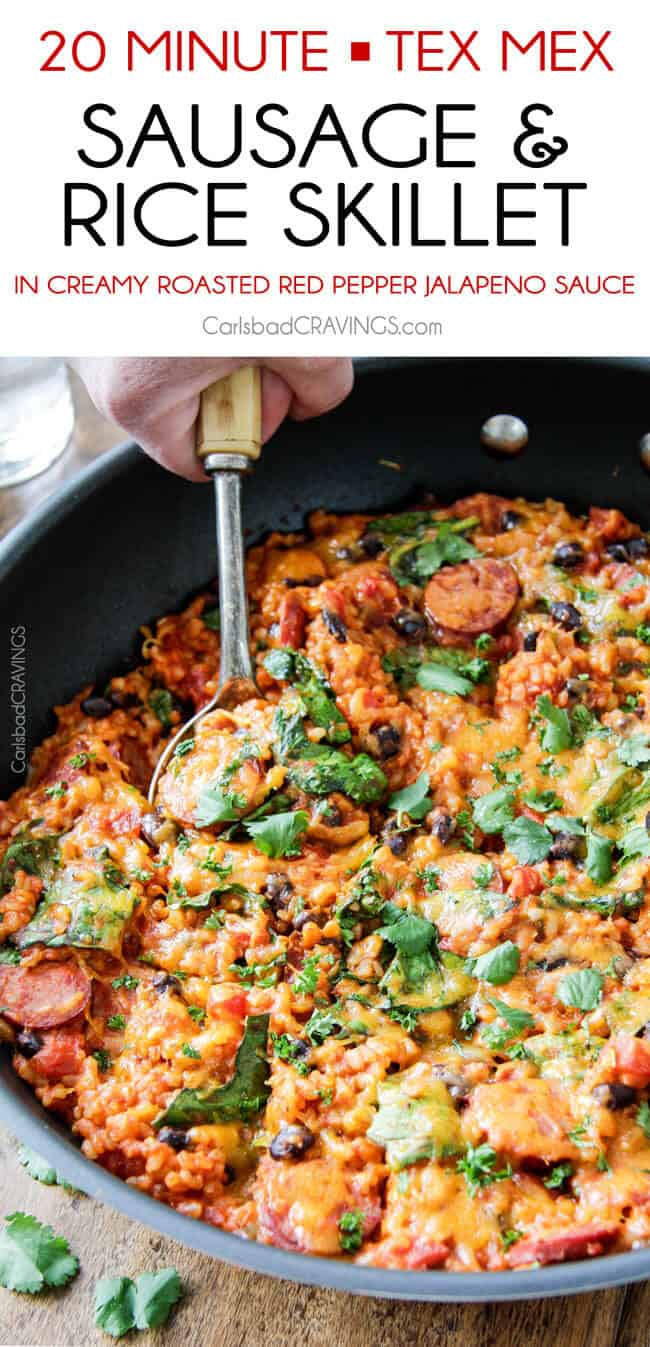 20 Minute Tex-Mex Sausage and Rice Skillet