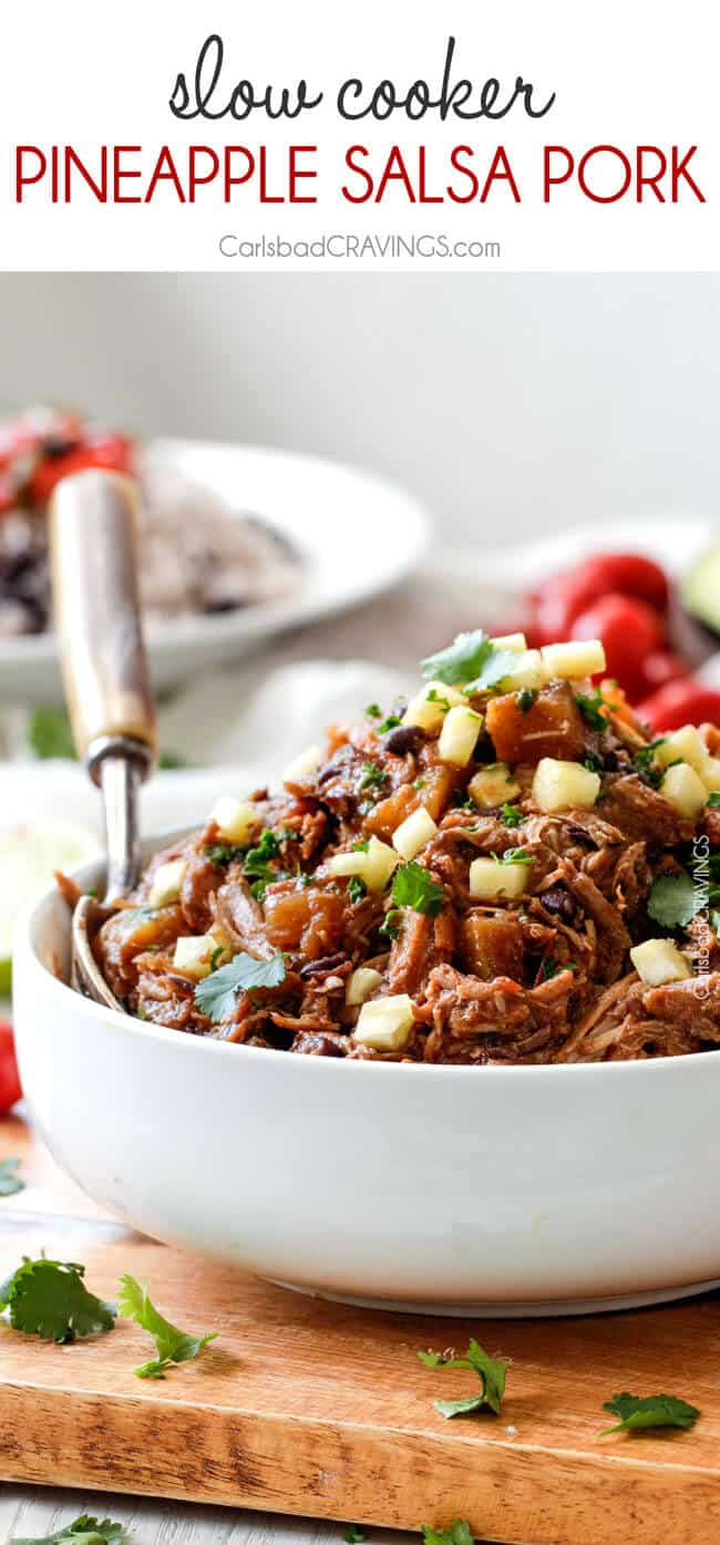 Slow Cooker Sweet and Spicy (optional) Pineapple Salsa Pork - crazy ...