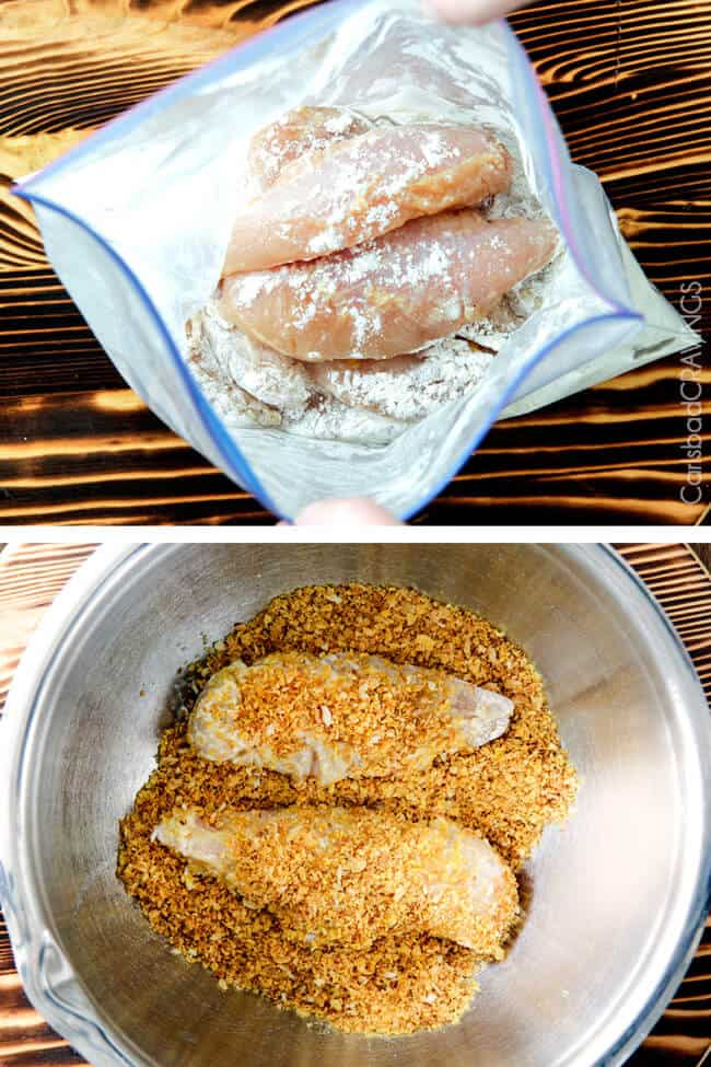 Showing how to bread the chicken for Sweet and Spicy Baked Orange Chicken Tenders.