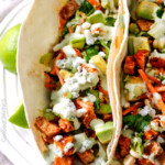 Buffalo Chicken Tacos with Blue Cheese Cilantro Ranch
