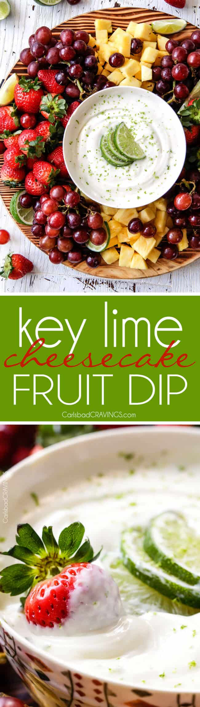 Key Lime Cheesecake Fruit Dip is smooth, creamy and the BEST way to eat fruit! Addictingly delicious make ahead snack or appetizer!