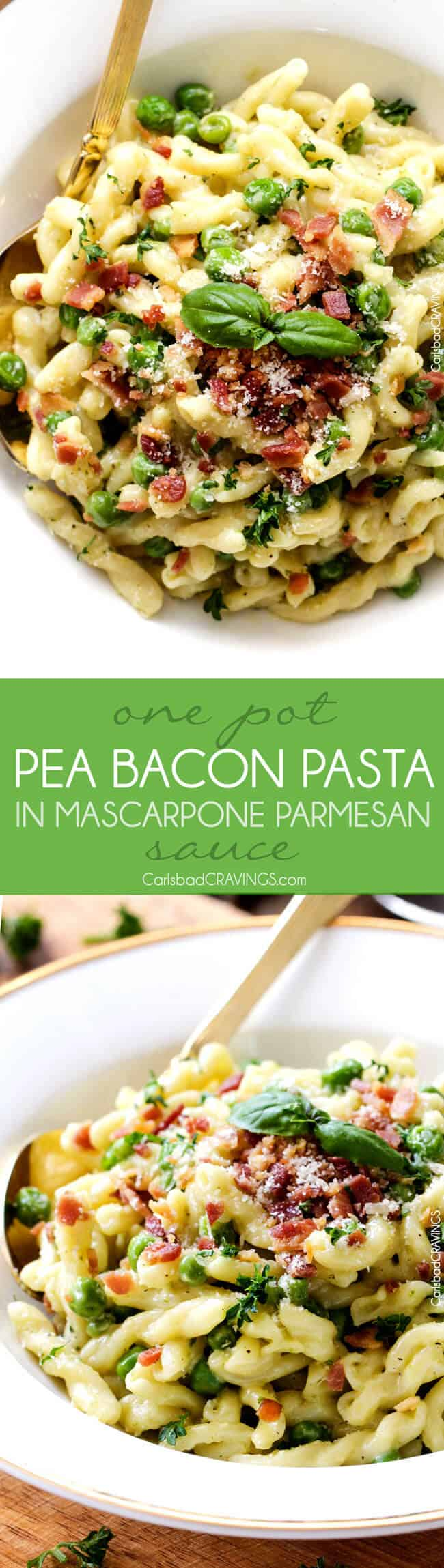 One Pot Pea and Bacon Pasta in Mascarpone Parmesan Sauce is a decadently delicious pasta and the EASIEST pasta you will ever make (seriously look at the directions)! Fabulous company or special occasion stress free side! #Easter #holiday #Christmas #Thanksgiving #pesto