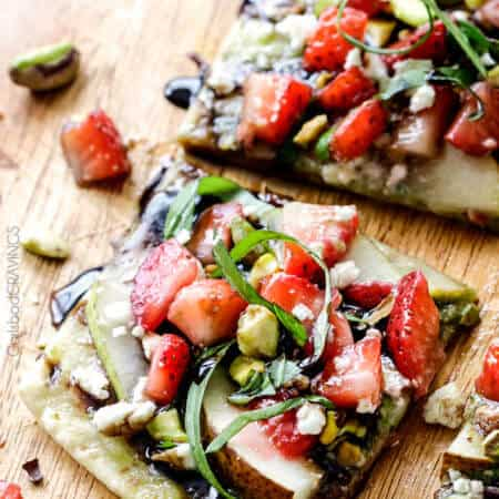 Strawberry Pear Pesto Flatbread with Balsamic Reduction Drizzle