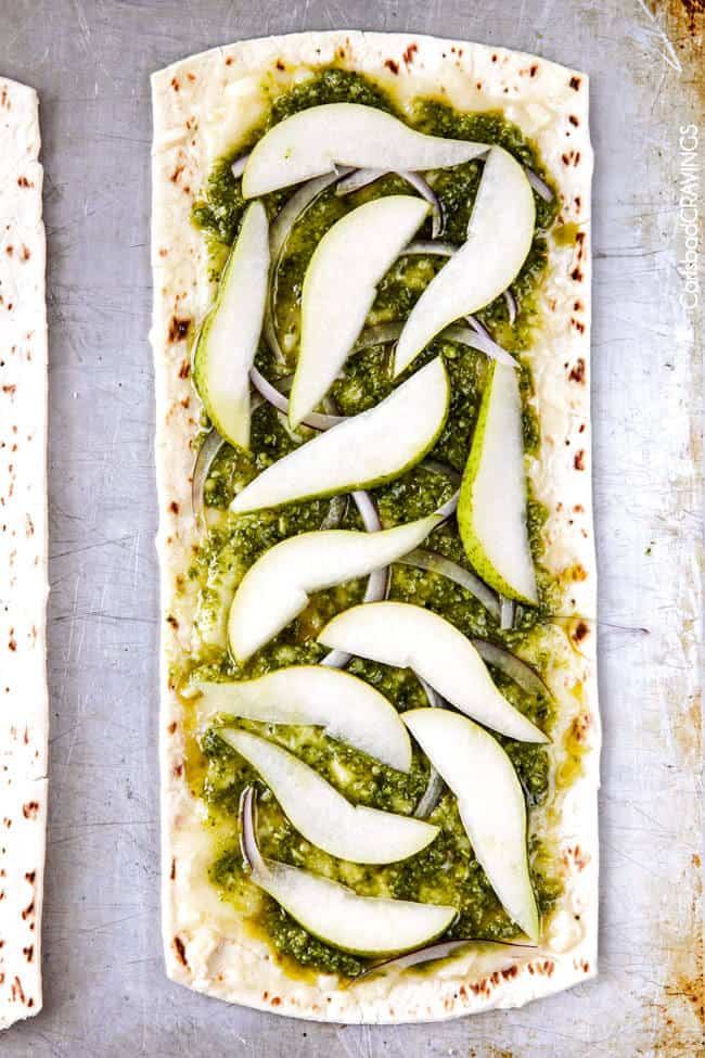 fresh, sweet and salty Strawberry Pear Pesto Flatbread with Balsamic ...