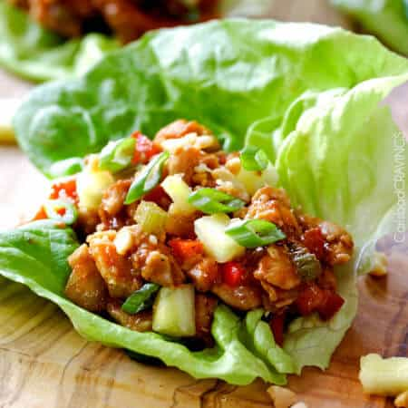 Asian Chicken Lettuce Wraps in Pineapple Hoisin Peanut Sauce