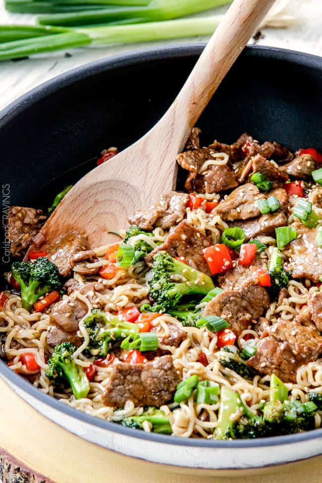 Beef and Broccoli Noodle Bowls cooked in a pan.