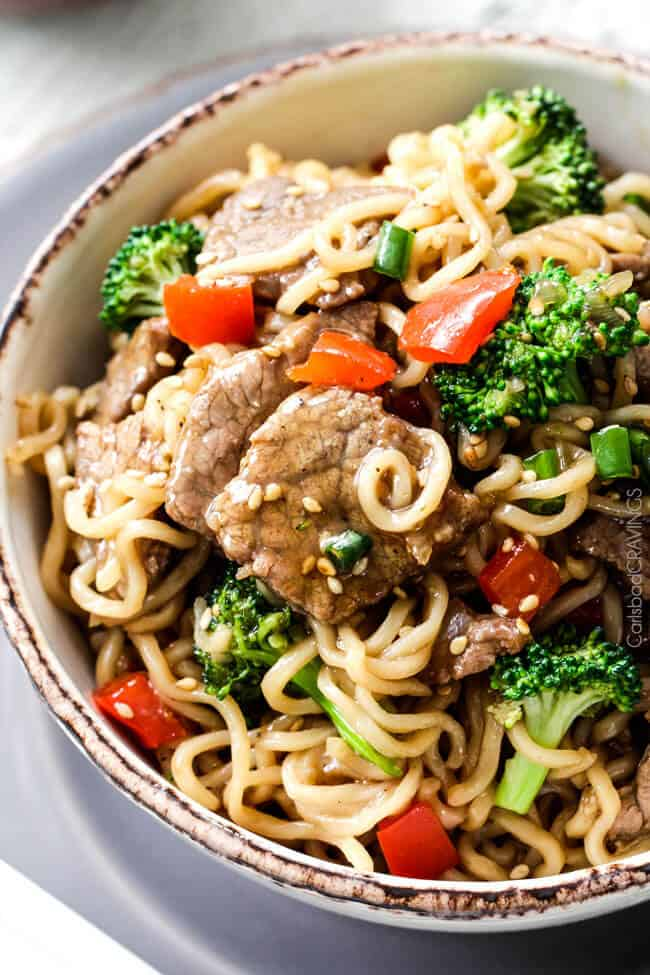 Top view of Beef and Broccoli Noodle Bowls with belle peppers.