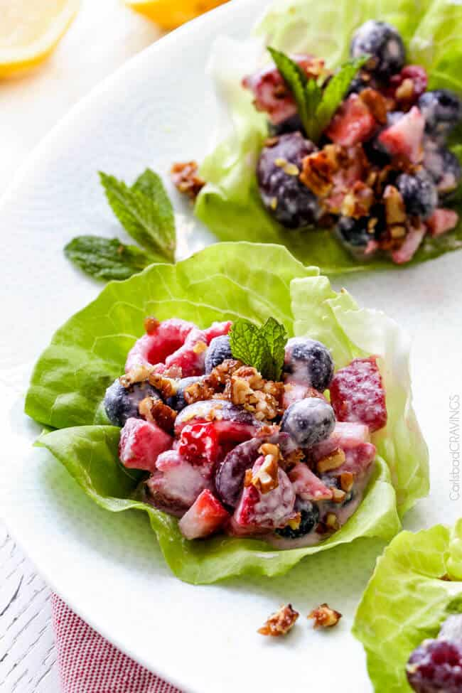 Berry Salad in Honey Mascarpone served in a salad wrap.