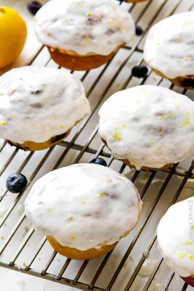 Everyone goes crazy over these cakey blueberry muffins! they are so incredibly moist, bursting with extra blueberries in every bite and the sweet and tangy Lemon Glaze is out of this world!
