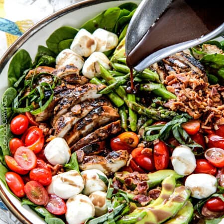 Grilled Caprese Chicken Salad with Asparagus, Avocado and Bacon