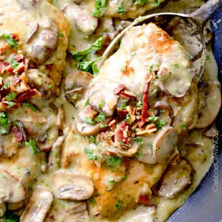 30 Minute Chicken in Creamy Mushroom Sauce with Bacon and Pesto