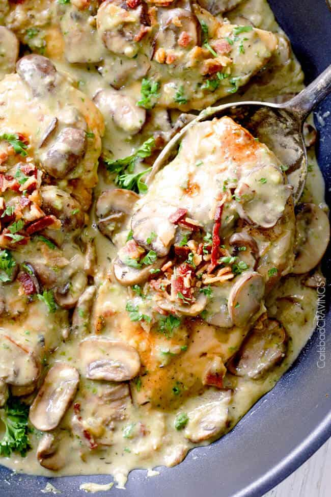 30 Minute Chicken in Creamy Mushroom Sauce with Bacon and Pesto is one of the easiest yet most delicious chicken dinners you will ever make! Love it with pasta, rice or potatoes, etc..