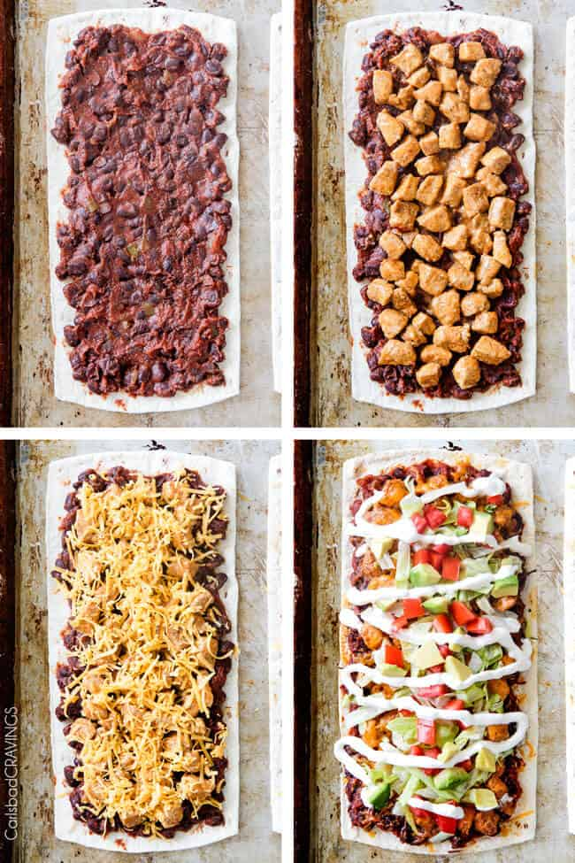 a collage showing how to make flatbread pizza by covering flatbread with sauce, followed by chicken, then cheese, then toppings