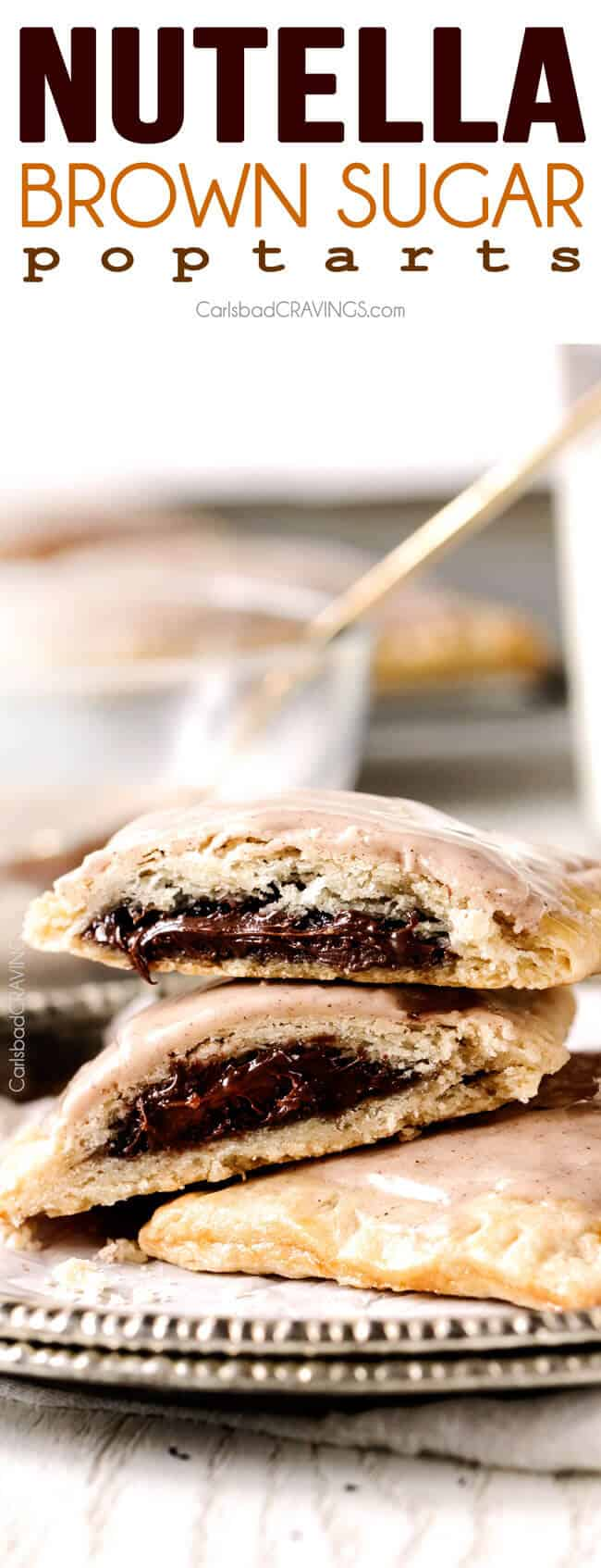 Melt in-your-mouth Nutella Brown Sugar Pop Tarts cocooned in buttery, flaky pastry smothered with Cinnamon Vanilla Icing are 1000X better than store-bought and so good you will never go back to the box kind again!