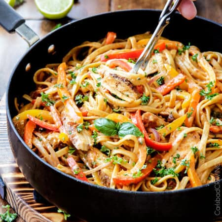Cajun Chicken Pasta in Sun-Dried Tomato Alfredo Sauce (lightened up!)