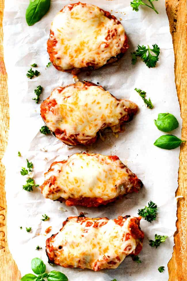 "My whole family loves this Skinny Chicken Parmesan! Its packed with flavor and so much EASIER than breading each chicken piece! I will never make ""traditional"" Chicken Parmesan again"