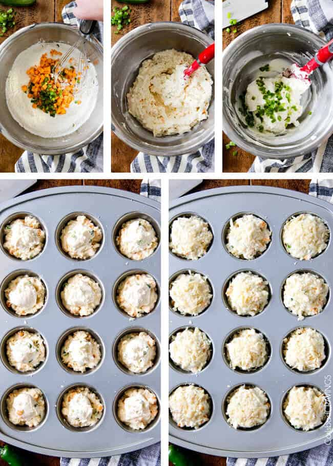 Showing how to make Jalapeno Popper Cheese Muffins by mixing the ingredients.