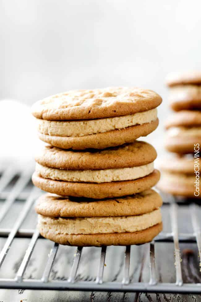 Irresistibly soft and chewy Peanut Butter Sandwich Cookies stuffed with melt in your mouth creamy peanut butter filling!