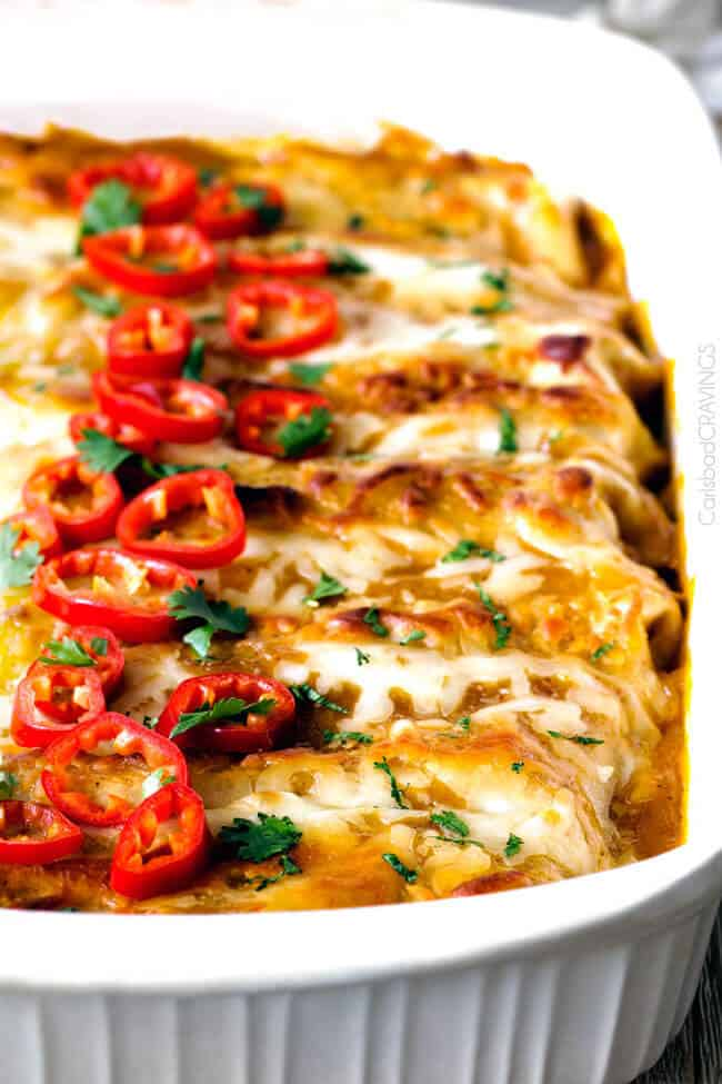 These Sweet chili Chicken Enchiladas are AMAZING! My whole family loves them and I always make them for company. The sauce is out of this world!