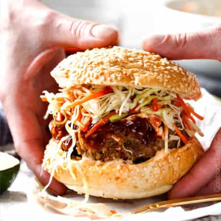 Asian Burger with Hoisin Ketchup & Garlic Chili Mayo