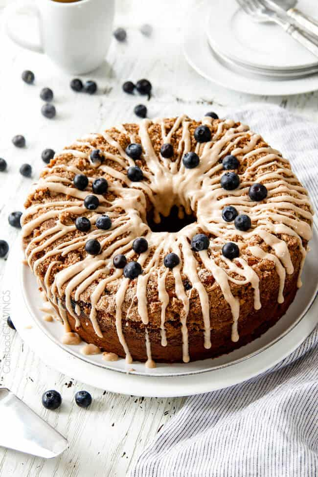 Blueberry Muffin Cake with Maple Cream Cheese Glaze ...