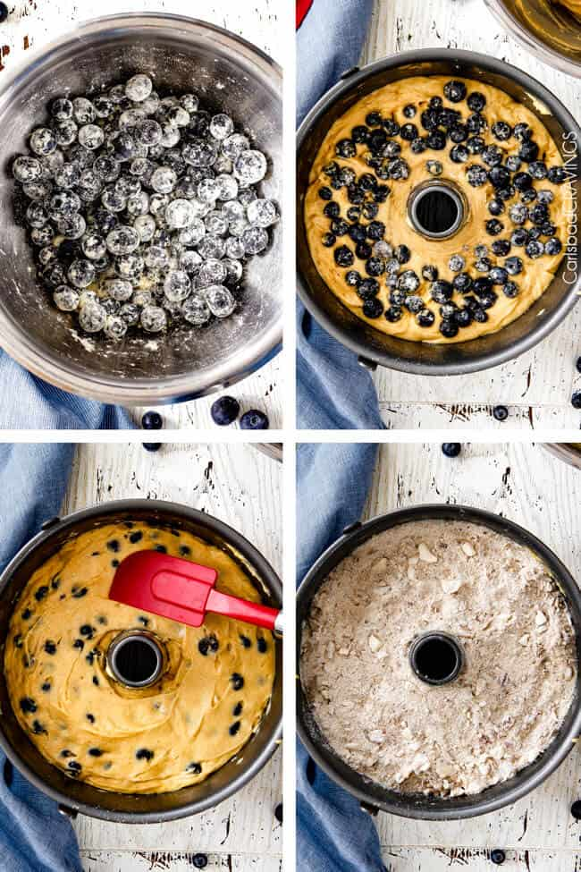 a collage showing how to make blueberry coffee cake by tossing blueberries with flour, adding blueberries to batter, adding batter to pan and topping with streusel