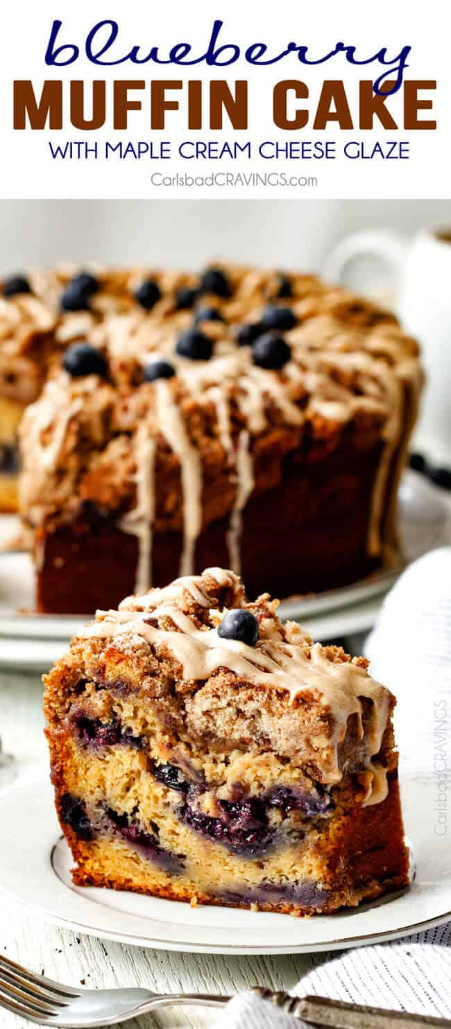 a slice of blueberry coffee cake with drizzle on a white plate