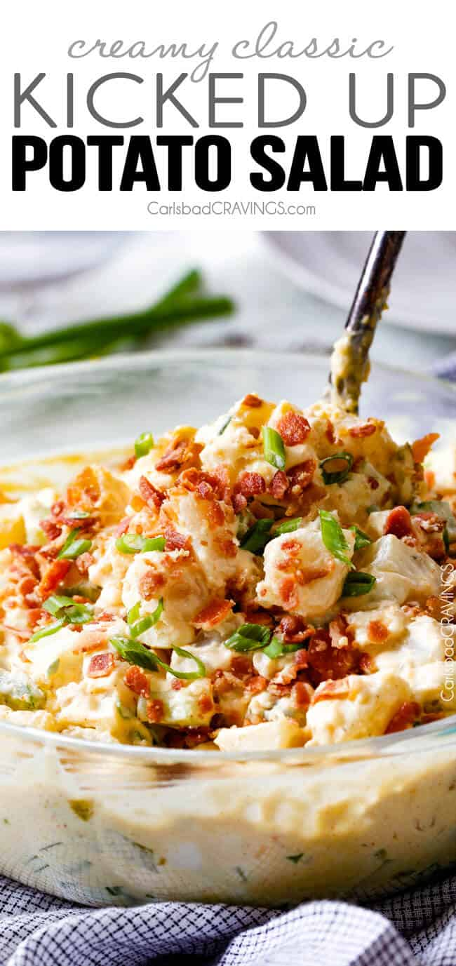 a spoon serving the best potato salad recipe with bacon