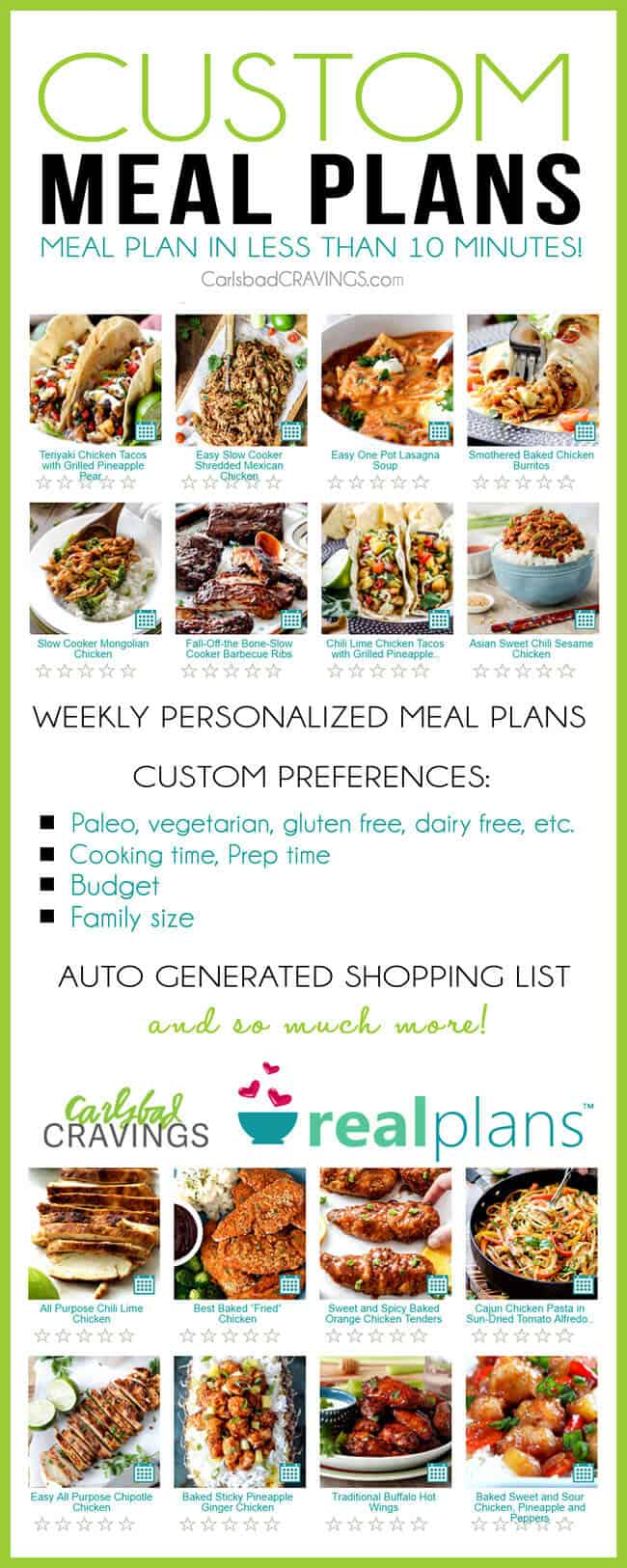 I was blown away by this online meal plan! So easy, customizable and took minutes to plan my family meals for the whole week! My favorite part is the automatically generated shopping list – simply life changing! I especially recommend this is if you are gluten free, dairy free or have any other dietary restrictions.