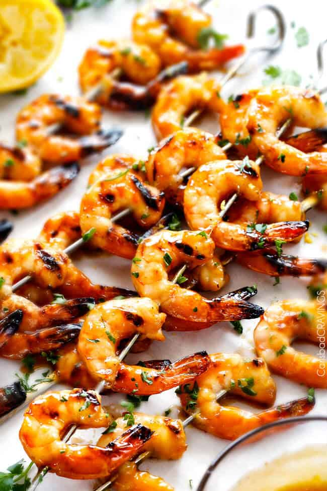 Asian Honey Lemon Shrimp - this is the easiest, most delicious sweet and tangy shrimp and you can make it on the grill or stovetop! and the Honey Lemon Chili Butter Sauce is out of this world!