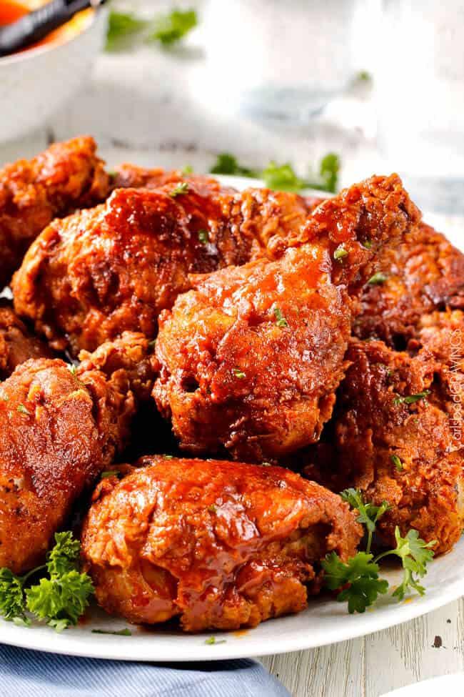 pile of nashville hot chicken on white plate