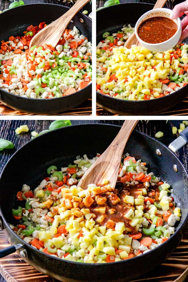 a collage showing how to make pineapple chicken stir fry by stir frying vegetables, adding stir fry sauce and cooking all togther