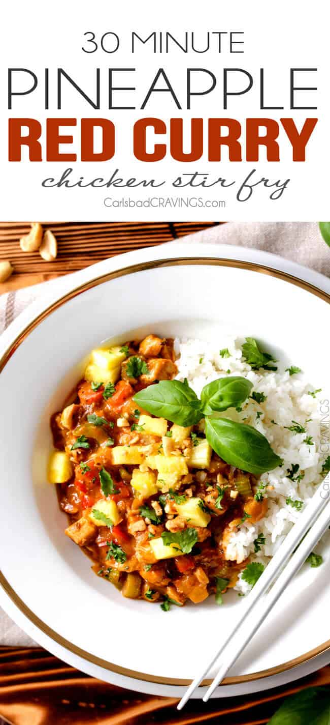 30 Minute Pineapple Red Curry Chicken Stir Fry - I am in LOVE with this stir fry! The sweet and tangy sauce with pineapple is absolutely incredible. I seriously was licking my plate! and don't forget the peanuts!