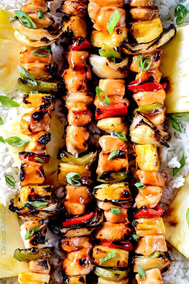Grilled Hawaiian Chicken Kabobs - this is my new favorite grill recipe! the chicken is so juicy and flavorful and the sweet and sour Hawaiian Sauce (that doubles as a marinade) is out of this world!