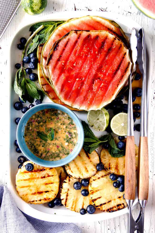 top view of a platter showing fruit for summer fruit salad