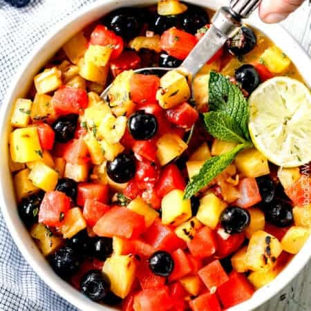 Watermelon Pineapple Summer Salad with Honey Lime Mint Dressing