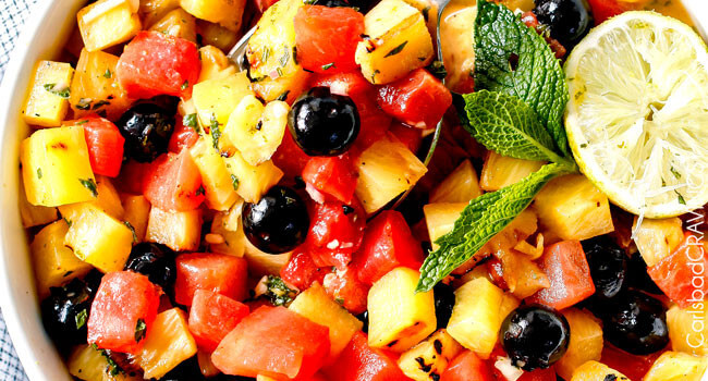 (Grilled optional) Watermelon Pineapple Summer Salad with Honey Lime Mint Dressing - This is possibly the best fruit salad I have ever had the pleasure of making and its so easy! I'm asked all the time to bring it get-togethers and what I especially love is you can use any fruit you want. One of my go to summer recipes!