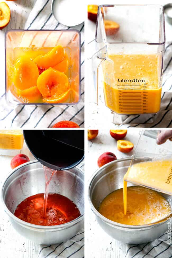 Showing how to make Sparkling Peach Punch by blending ingredients.