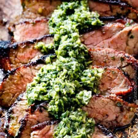 Grilled Asian Steak with Cilantro Basil Chimichurri