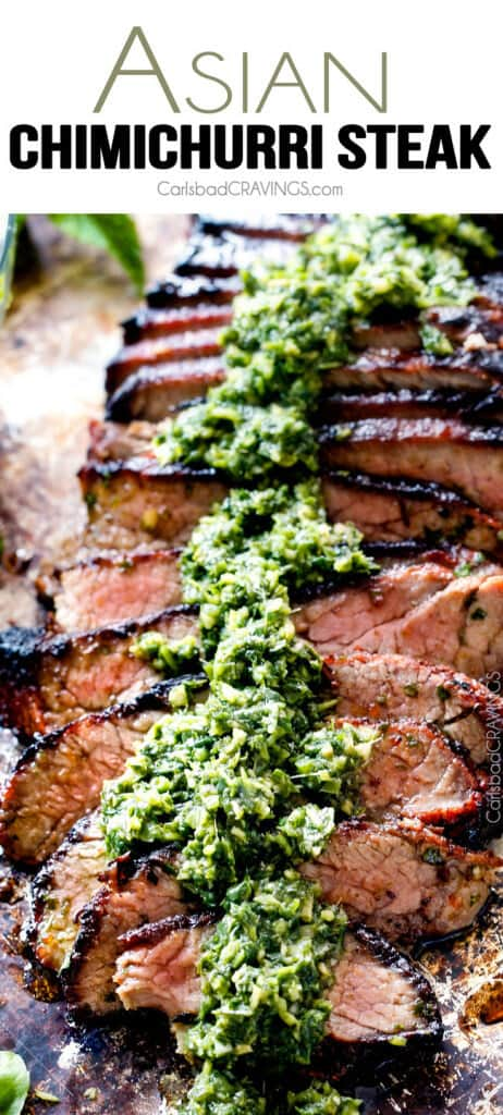 Asian Chimichurri Steak - this marinade is hands down the best steak marinade I have ever tried - SO flavorful for a crazy juicy, tender, amazing steak!