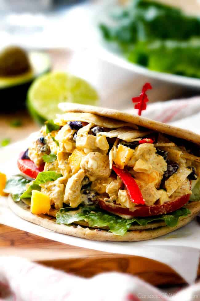 Avocado Chicken Salad with corn, black beans, mangos, etc in a sandwich