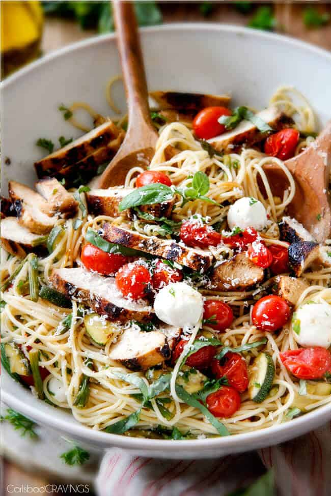 Close up of Caprese Chicken Pasta in a bowl.