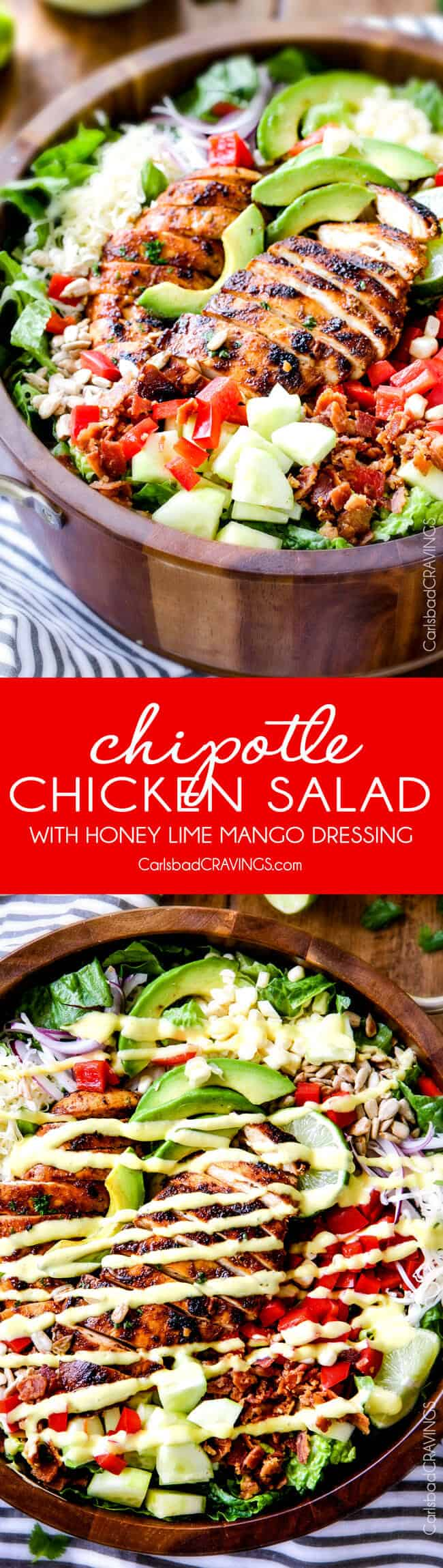 Chipotle Chicken Salad with Honey Mango Dressing – I actually CRAVE this salad its so good! The chipotle chicken is super juicy and flavorful with just the right amount of kick and the mango dressing is so sweet, tangy and refreshing and I love the addition of Monterrey Jack Cheese and sunflower seeds! My friends always ask me to make this for them!