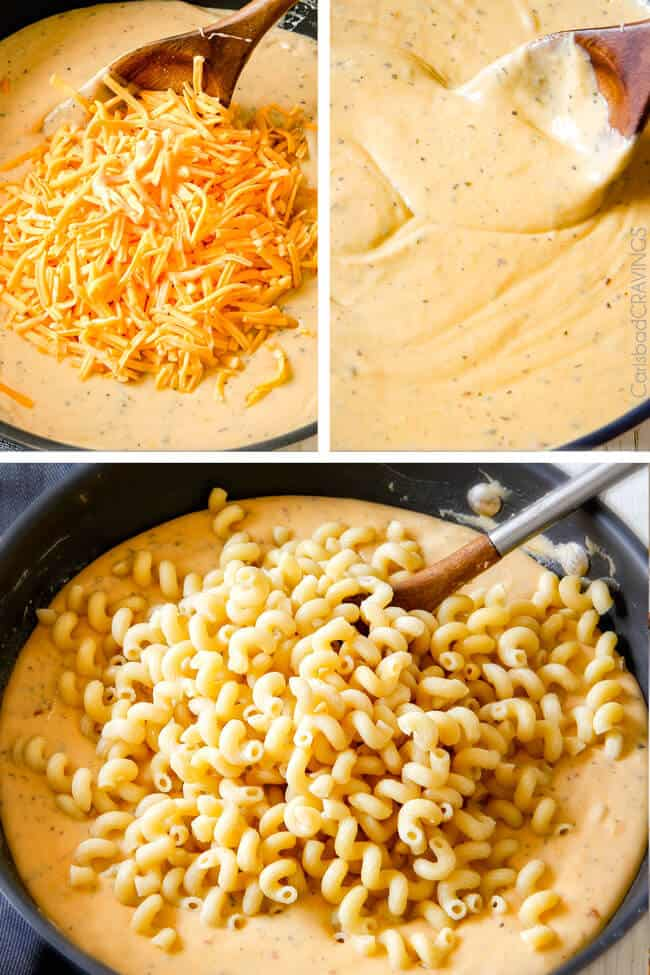 Showing how to melt cheese for Million Dollar Macaroni and Cheese.