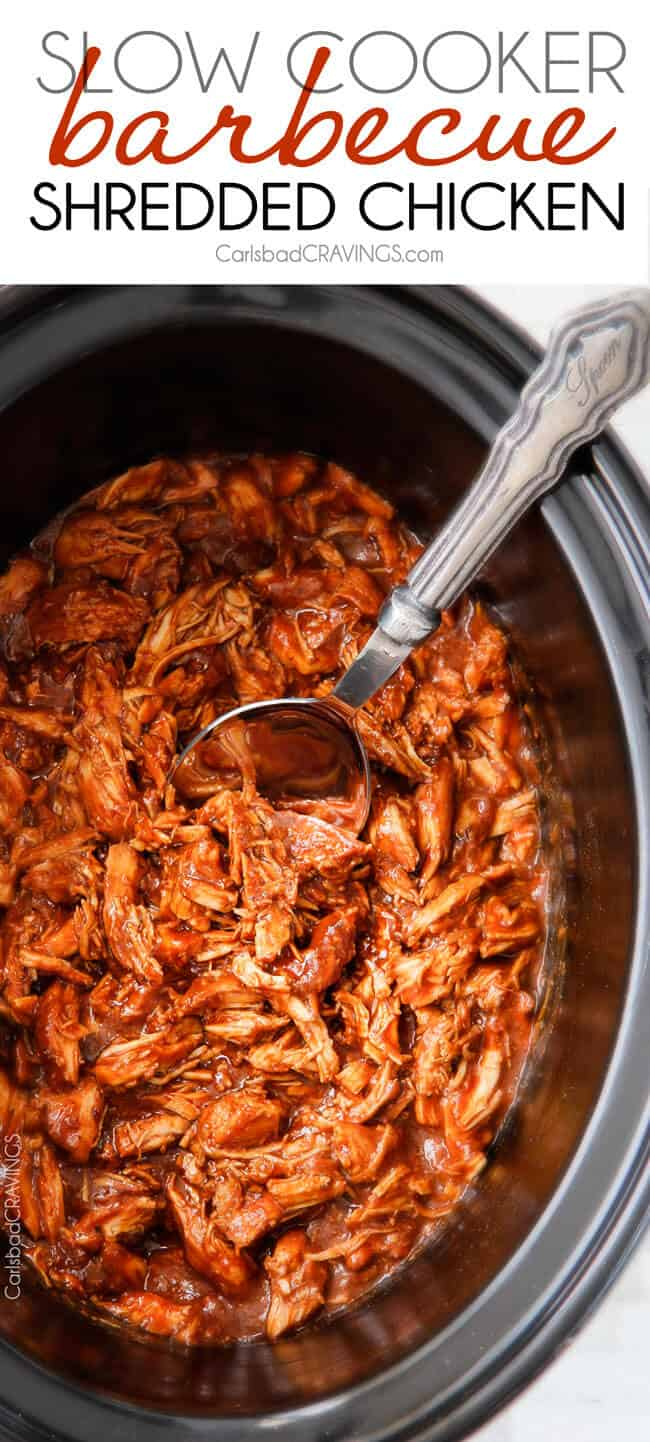 Slow Cooker BBQ Chicken - this is our family's favorite BBQ chicken! Its tender, tangy, sweet, smoky and the homemade barbecue sauce is out of this world! I love making this for busy days or large gatherings!