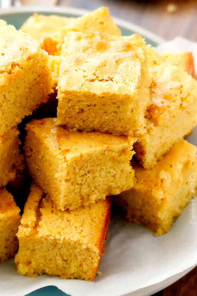 Sweet Cornbread recipe stacked on a plate