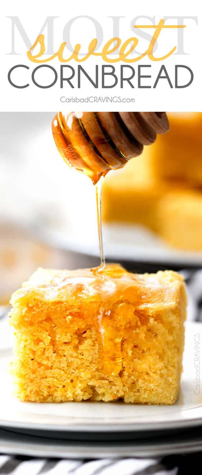 drizzling Sweet Cornbread with honey on a white plate