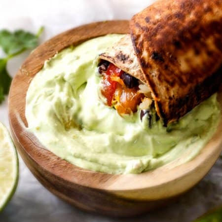 Chicken Fajita Wraps with Creamy Avocado Dip